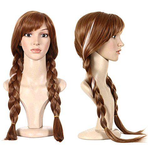 Anogol Hair Cap+Braided Wig for Cosplay Wig Maroon Ombre Brown Braid Princess Wigs for Women Girls Halloween Costume