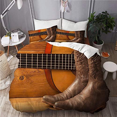 DAHALLAR Juego de Ropa de Cama con Funda de edredón, de Microfibra, Música Country Americana con Guitarra y Zapatos de Vaquero en Madera,con 2 Fundas de Almohada,140x200
