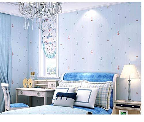 Ozean Segeln Jungen und Mädchen Zimmer Hintergrundwand Mittelmeer blau Cartoon Kinderzimmer Schlafzimmer 3d Tapetenrolle