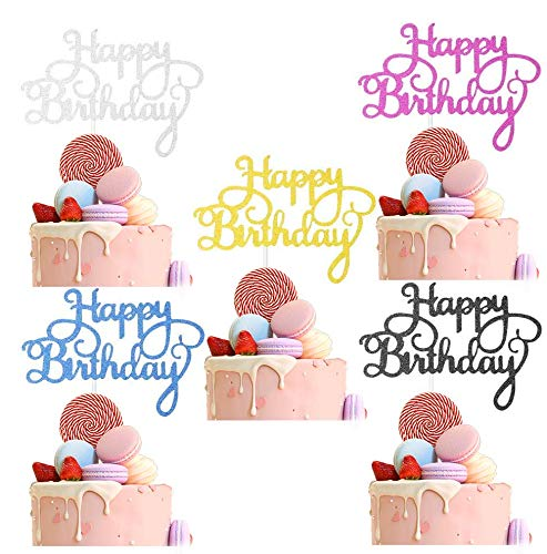 50 pcs 5 Colors Happy Birthday Cake Toppers, Birthday Cupcake Topper Acrylic Glitter Cardstock Topper Letters'Happy Birthday', Supplies for Various Birthday Cake Decorations