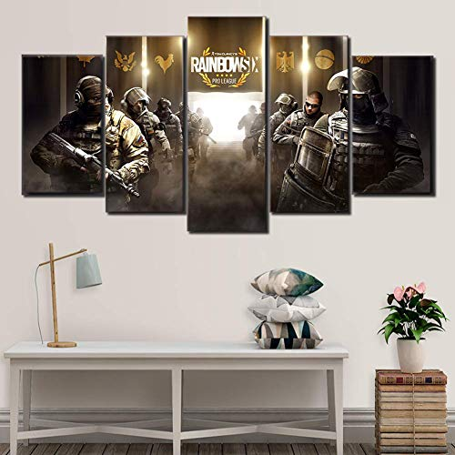 BOYH Drucke auf Leinwand 5 Stück Tom Clancy's Rainbow Six Siege Spiel Poster HD modern Wandkunst Zuhause Dekorationen,B,30×50×2+30×70×2+30×80×1