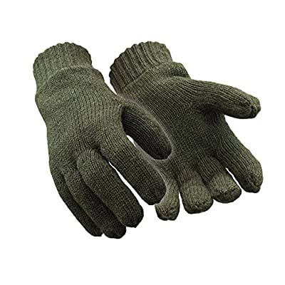 RefrigiWear Fleece Lined Thinsulate Insulated Ragg Wool Gloves (Green, X-Large)