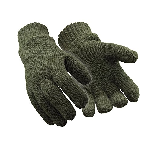 RefrigiWear Fleece Lined Thinsulate Insulated Ragg Wool Gloves (Green, Large)