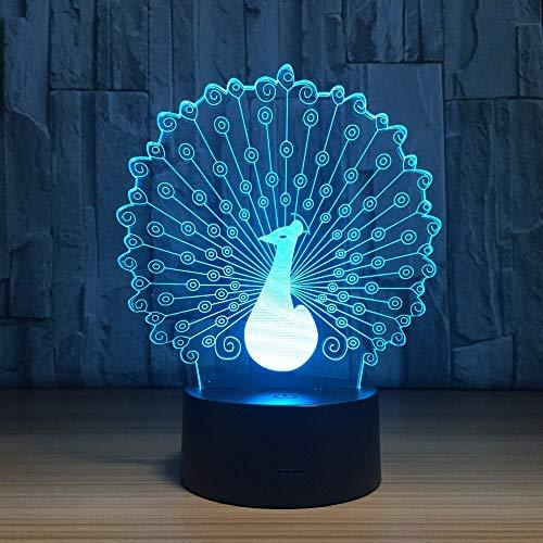 Jiushixw 3D acryl nachtlampje met afstandsbediening van kleur veranderende tafellamp kinderen lichtgevende grijze Tiffany tafellamp inch