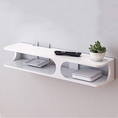 etagere mural flottant meuble tele console multimedia pour routeur decodeur numerique dispositif de streaming console de jeu couleur blanc