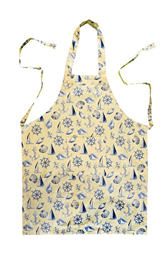 Stitch & Sparkle Set of 1 Apron, 1POT Holder, 1 Oven MITT and 4 Kitchen Towel, 100% Cotton, Nautical, Shell Beige