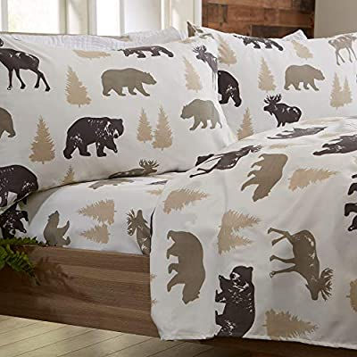 Great Bay Home 4-Piece Lodge Printed Ultra-Soft Microfiber Sheet Set. Beautiful Patterns Drawn from Nature, Comfortable, All-Season Bed Sheets. (Queen, Bear)