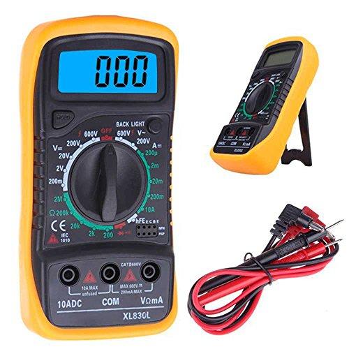 OcioDual Multímetro Digital Tester con Pantalla Retroiluminada LCD Medidor DMM para Medir Corriente DC Amperímetro AC