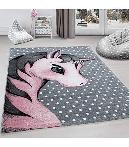 Kinderteppich Kinderzimmer Teppich Einhorn Muster Grau-Weiß-Pink - 80x150 cm