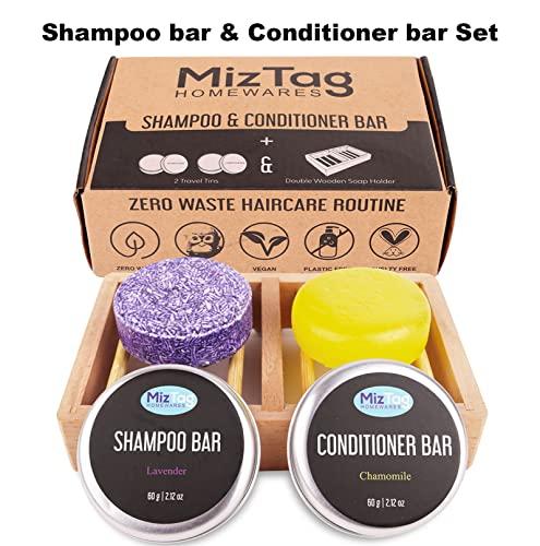 Miztag Zero Waste Shampoo and Conditioner Bar, Wooden Shampoo bar holder & Travel Tins