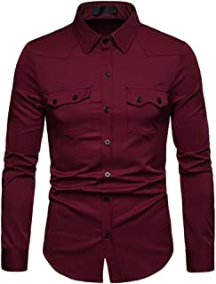 SHYY Camicia da Uomo Slim-Fit Manica Lunga Easy Iron Leisure Business Camicie Matrimonio Bottoni sul Davanti Shirt Elegant...