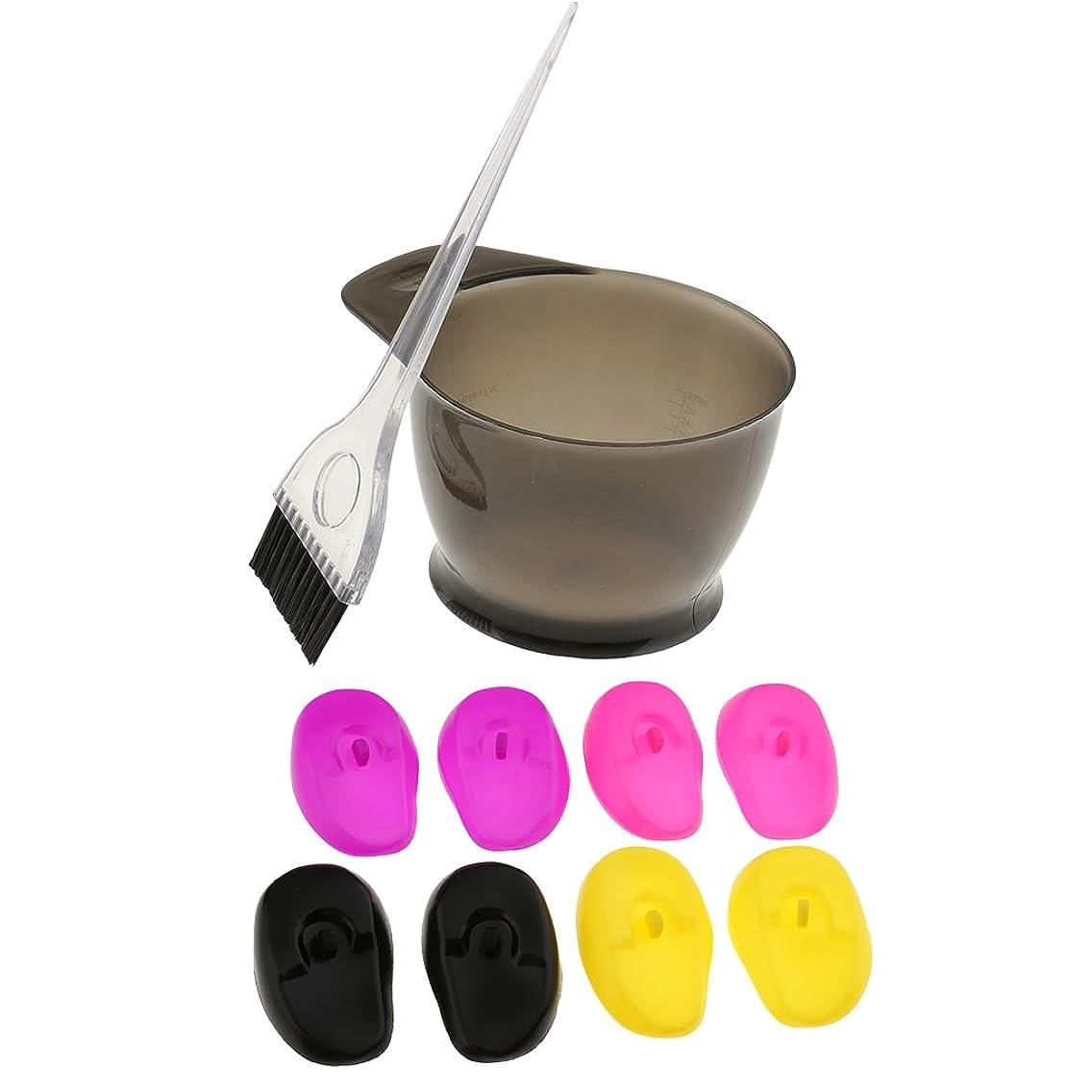 次かんがいビーチSONONIA ヘアカラー 髪染めセット 美容院工具 再利用可能 ブリーチツール 染料ボウル シリコン ブラシティント 耳カバー(4ペア)