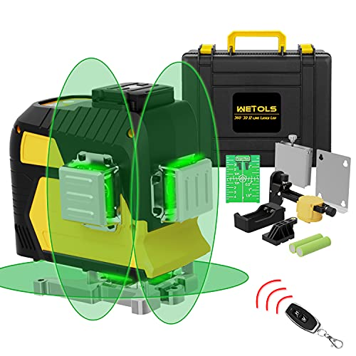 WETOLS Laser Level, 12 Lines 3x360° 3D Green Cross Line, Rechargeable Li-ion battery, Remote Controller, Adjustable Brightness, Three-Plane Leveling, with Portable Toolbox | WT-211