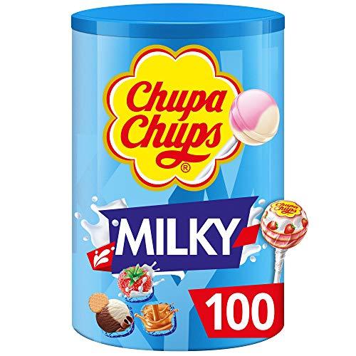 Chupa Chups - Tubo de 100 Sucettes Lait - Parfums Choco/Vanille, Lait/Fraise, Caramel - Sans Gluten, 0% de Matières Grasses - Idéal pour Fêtes d'Anniversaires - Boite Chupa Chups Milky de 1,2 Kg