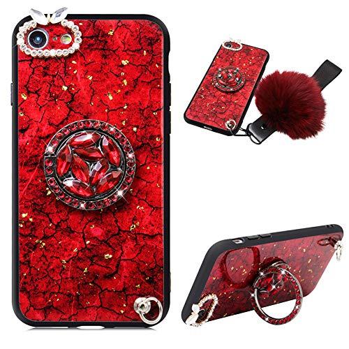 CESTOR Goldfolie Strass Hülle für Samsung Galaxy A21s,Ultra Dünn Marmor Muster Kristall Diamant 360 Ring Halter Schutzhülle HandyHülle mit Haarball für Damen Mädchen,Rot