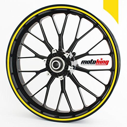 Motoking Adhesivos Llantas 360 °, 4 mm de Ancho, Amarillo Mate/Rueda Completa/Desde 24' hasta 26'/Color y Ancho Opcionales
