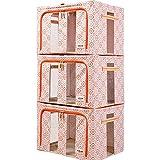 SXDHOCDZ Bolsa de almacenamiento plegable, tela Oxford, caja de almacenamiento visible de tres caras, caja de almacenamiento para ropa y desechos, 3 juegos de 66 L, diseño de flores, color naranja