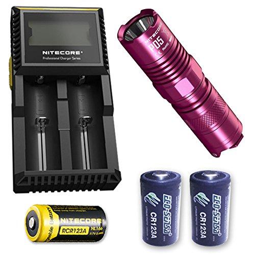Bundle: Nitecore P05 Self Defense Strobe Ready EDC light w/D2 Charger, NL166 RCR123A + 2x Eco-Sensa Photo Lithium CR123A (PINK)