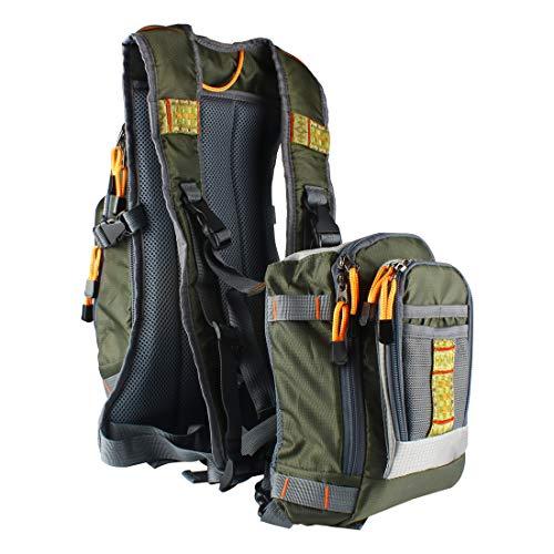 Andux Multifunktionales abnehmbares Fliegenfischen Rucksack Kombi-Fliegen-Fischen Taschen Vest F-DYMJ-01Mehrweg
