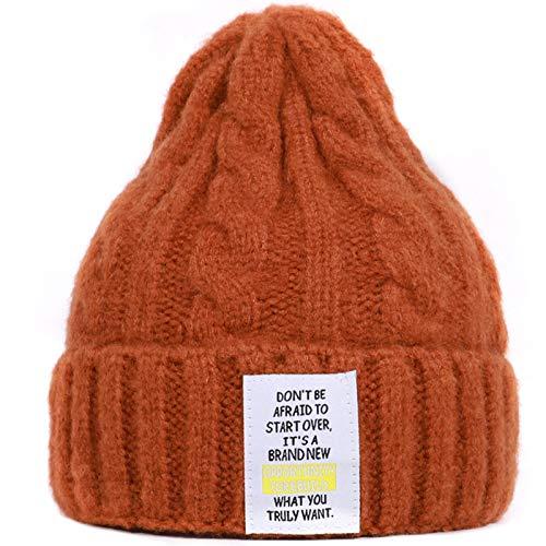 Unisex Winter Chunky Kabel Gebreide Beanie Cap Effen Kleur Letters Label Skull Hat