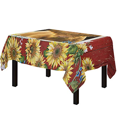 Yun Nist Tablecloths for Rectangle Table Farm Highland Cattle with Sunflowers, Cotton Linen Fabric Table Cover Tabletop Cloth for Dining Room Kitchen, Red Barn