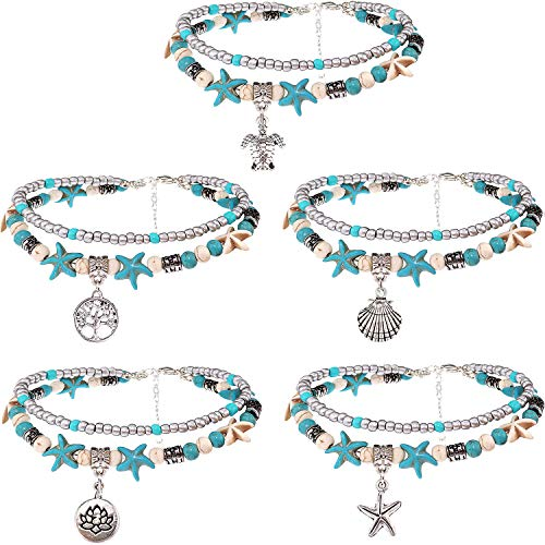 Suyi Sea Turtle Ankle Bracelet Set Multilayer Beach Anklets Handmade Boho Anklets for Women Girls 5pcs