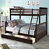 MERITLINE Bunk Bed, Wood Twin Over Full Bunk Bed Frame with...