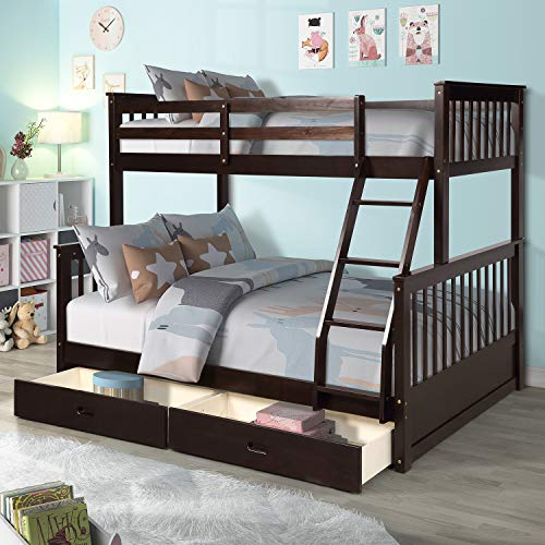 MERITLINE Bunk Bed, Wood Twin Over Full Bunk Bed Frame with Storage Drawers, Espresso