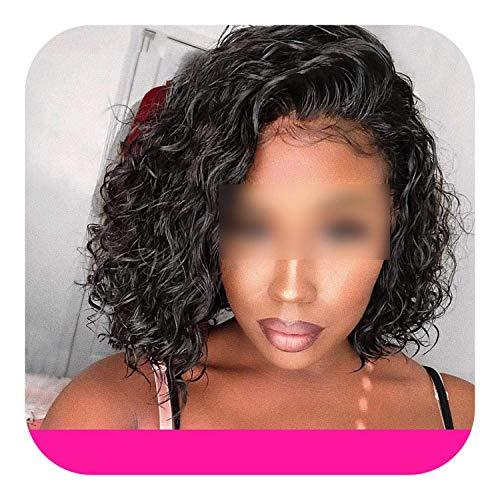 PJPPJH Perruques pour Femmes Cheveux Humains Bob Court Perruque Vague d'eau Avant de Lacet Cheveux Humains 13x4 Bob Avant de Lacet Coupe Bob bouclés P