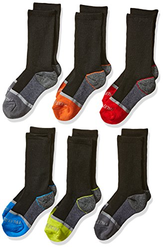 Fruit of the Loom Boys' Little 6-Pair Half Cushion Crew Socks, black assort, Medium (Shoe Size: 9-2.5)