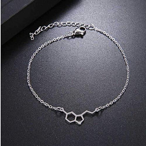 N/Z Pulsera de Acero Inoxidable Pulsera de Acero Inoxidable para Mujer Molécula de triptófano Plata Geometría química Joyas de Compromiso del Amante