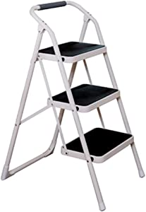 M-Y-S 3-story Step Ladder  Household Folding Ladder  Indoor And Outdoor Multi-function Step Stool Pot Rack With Armrests Height  97 5cm  Color BLACK