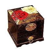 ALIANG Caja de Almacenamiento China de Madera Pingyao Push Laca Laca Caja de Almacenamiento de joyería de Tres Capas Caja de vestidor