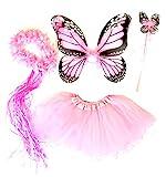 Tante Tina Schmetterling Kostüm Mädchen - 4-teiliges Mädchen Kostüm Schmetterling mit Tüllrock , Flügel , Zauberstab und Haarreif - Monarchfalter Rosa - geeignet für Kinder von 2 bis 8 Jahren