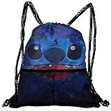 Bolso con cordón Anime Stitch Mochila con cordón Portable Tendencia de Ocio Paquete de Viaje Saco Almacenamiento Bolsas de Hombro 16x18 Pulgadas