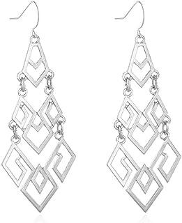 Ronshin Fashion Women Diamond Hollowing Long Exaggeration Geometry Earrings