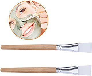 Frcolor 2pcs Wooden Handle Facial Mask Brush Facemask Applicator Brush Professional Mud Mask Mixing Brush Cosmetic Makeup Brush