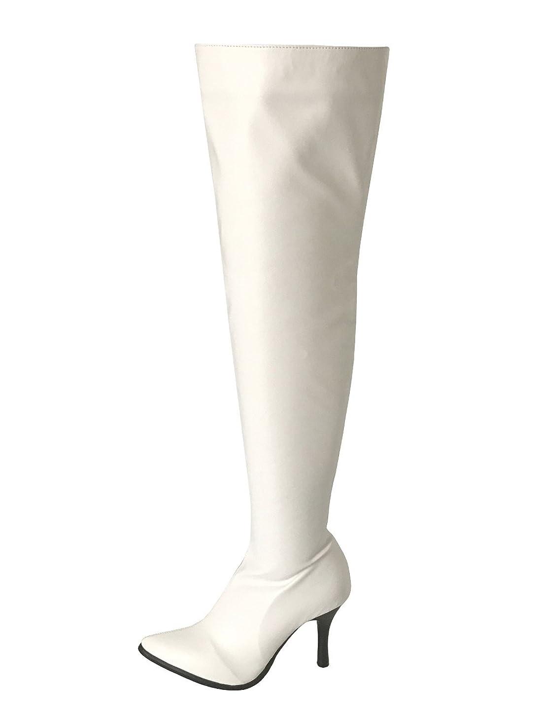 伝染性ベアリング良さ[ノーブランド品] フルジッパー シンプルニーハイ ストレッチタイプ 白色(206-20 wh)