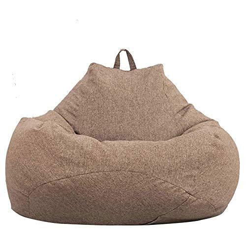 Qinmo Sillas Puf, Gigante de Espuma Lazy Silla Tumbona Frijol Bolsa de Almacenamiento for Adultos y niños de Interior al Aire Libre for jardín Salón de la Sala (Color : Brown, Size : 80X90CM)
