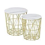 HOMCOM Lot de 2 Tables Basses gigognes - Tables d'appoint Rondes encastrables Style néo-rétro Bicolore Structure...