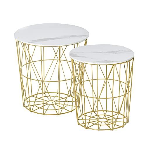 homcom Set 2 Tavolini da Salotto Moderni Impilabili, Ripiano Rimovibile e Base Contenitore, Acciaio e MDF, Φ44/Φ35x45.5cm, Bianco Oro
