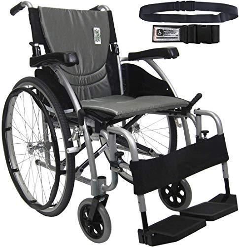 Karman S-Ergo 115 Ultra Lightweight Ergonomic Wheelchair | Seat Size 20' X 17' | Swing Away Footrest | Fixed Wheels in Silver & Free Black Wheelchair Seatbelt!