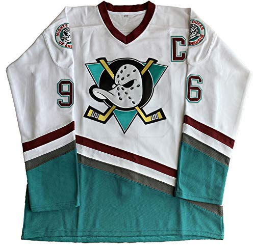 Charlie Conway # 96 Mighty Ducks Adam Banks # 99 Movie Eishockey Trikot grün weiß - Weiß - X-Groß