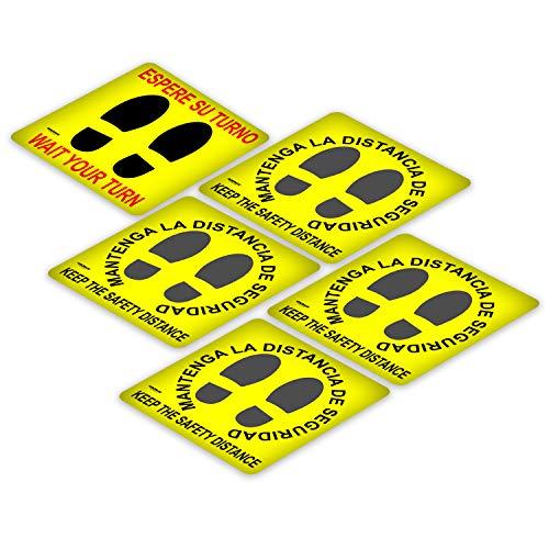 WOLFPACK LINEA PROFESIONAL Rotulacion Suelo Distancia Seguridad y Turno. Pegatinas Señalizacion. 5 Unidades Cuadradas, 32 x 32 cm.