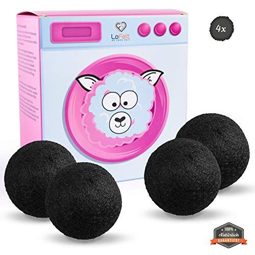 LoFelt® Trocknerbälle für Wäschetrockner - Natürlicher Weichspüler - für Daunenjacken geeignet - Daunen Trockner - 100% Schafwolle - schneller trocken (4 Stück, Filz, weiß)