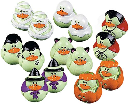 Fun Express Vinyl Mini Glow-in-the-Dark Rubber Ducks | 2-Pack (48 Count) | Great for Halloween-Themed Party