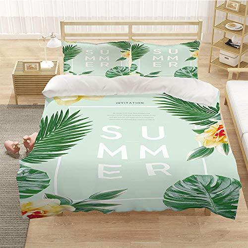 Bedclothes-Blanket Cubierta de una Sola Colcha 3D Cubierta para niños Impresos 3 Piezas de Cama de Paisaje oceánico, Cierre de Cremallera y Cierre con 2 Fundas de almohadas-14_220 * 260cm