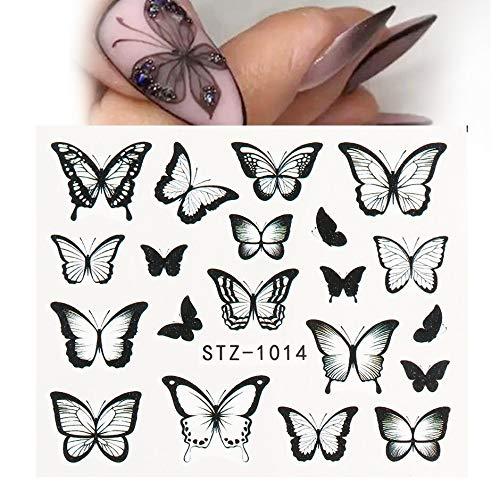 PMSMT 1 Pieza de calcomanías y Pegatinas de uñas de Mariposa Negra Flor Azul Colorido Tatuaje de Agua para manicura decoración Deslizante para decoración de uñas CHSTZ982-1017