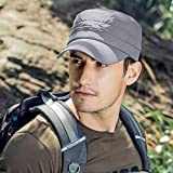 Cooltto Sombrero Plano de Extraíble,Gorro de Pesca,Gorra de Visera,50+ UV protección Solar Sombrero-Rápido Seco Transpirable Plegable Impermeable Ajustable,para la Actividades al Aire Libre-Gris
