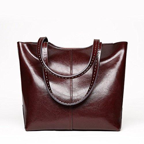 ChenYongPing Frauen Handtasche Butter Vintage Fine Texture Elegante High-End Tasche Fashion Bag Mode-Handtaschen (Farbe : Kaffee)